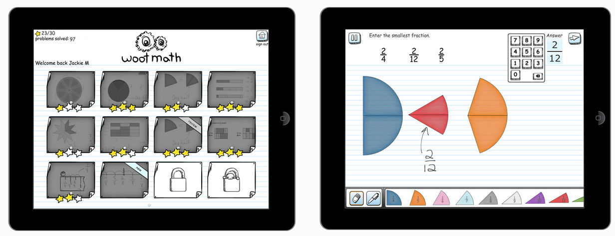 Woot Math Screenshots, Fraction Circles and Student Dashboard